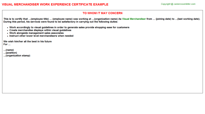 Visual Merchandiser Experience Letter Template