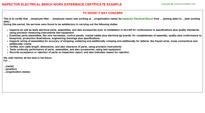Inspector Electrical Bench Work Experience Letter | Experience Letters