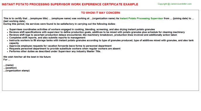 instant potato processing supervisor experience letter template