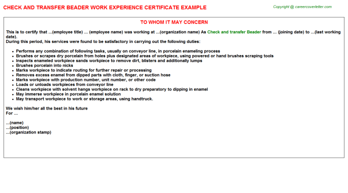 check and transfer beader experience letter template
