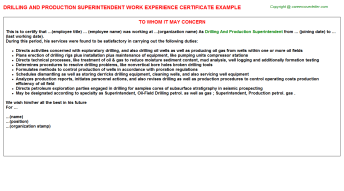Drilling And Production Superintendent Experience Letter Template