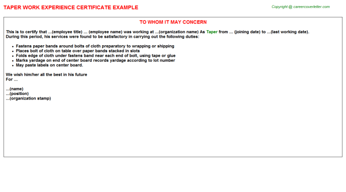 Taper Experience Letter Template