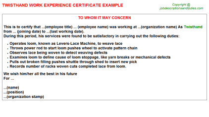 Twisthand Work Experience Letter Template