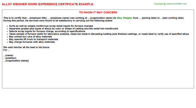 alloy weigher experience letter template