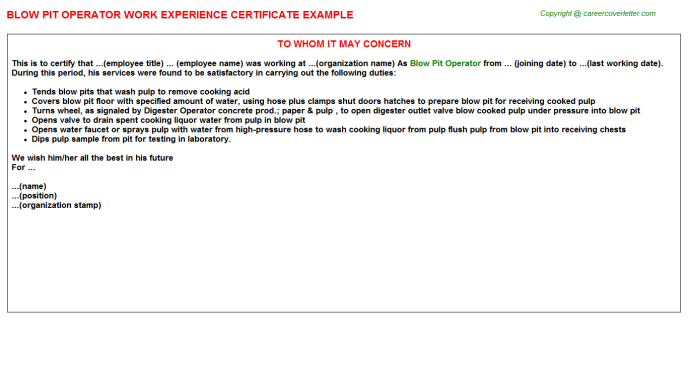 experience operator blow pit certificate