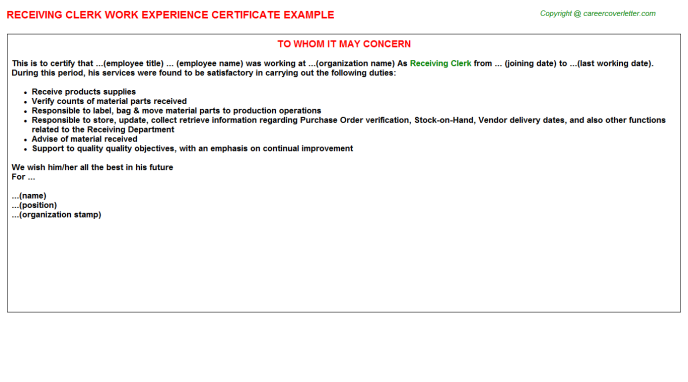 Receiving Clerk Experience Letter Template