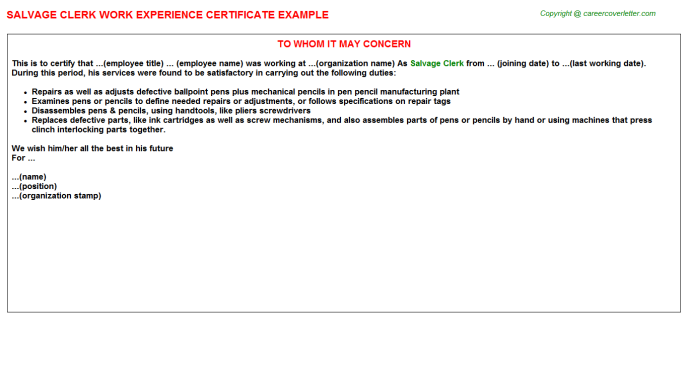 Salvage Clerk Experience Letter Template