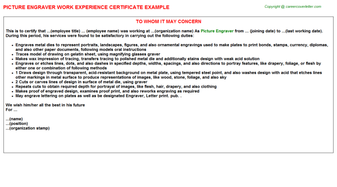 Picture Engraver Job Experience Letter Template