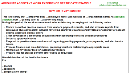 Accounts Assistant Work Experience Letter Template