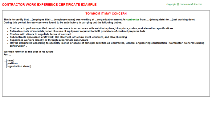 Contractor Experience Letter Template