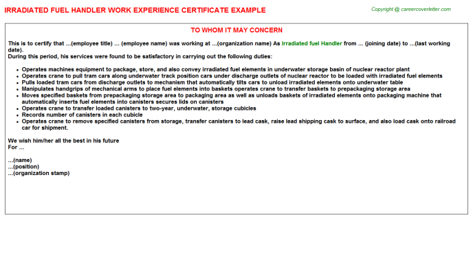 Irradiated Fuel Handler Job Experience Letter Template
