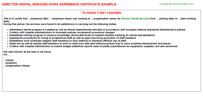 Director Dental Services Experience Letter Template