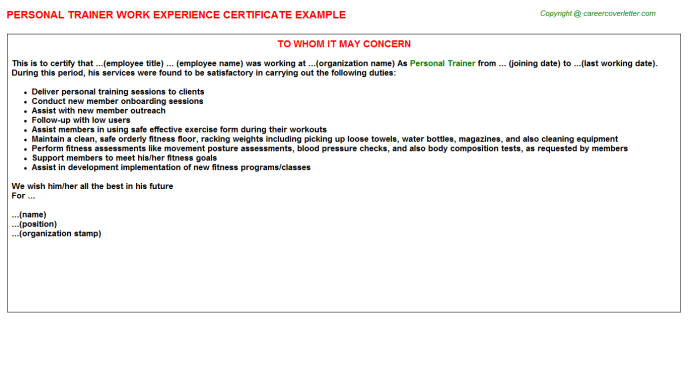 Personal Trainer Work Experience Letter