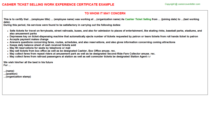 Cashier Ticket Selling Experience Letter Template