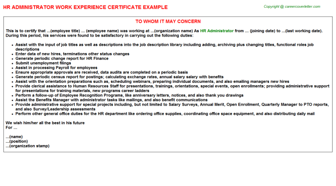 HR Administrator Experience Letter Template