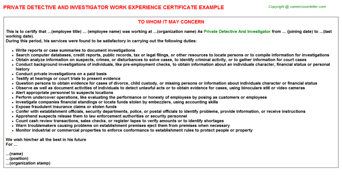 private detective and investigator career samples