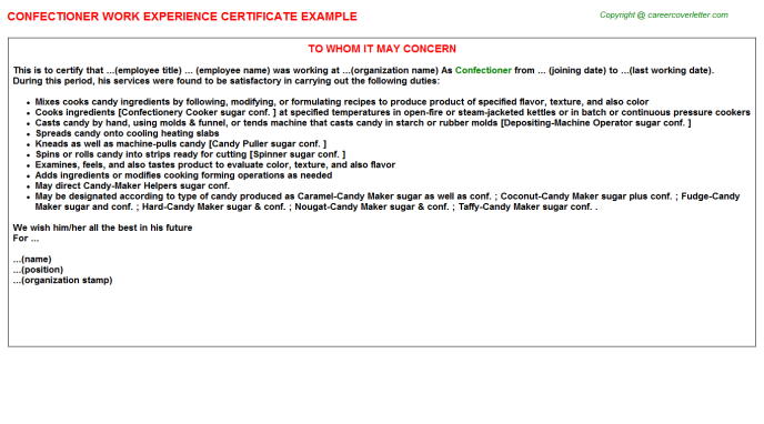 Confectioner Experience Letter Template