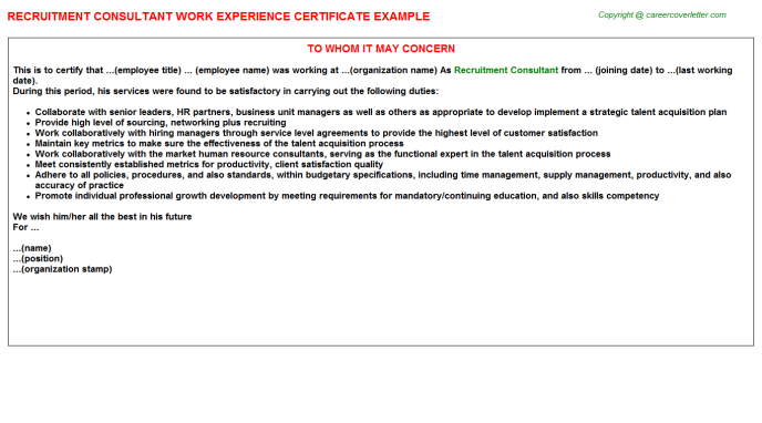 Recruitment Consultant Experience Certificate Template