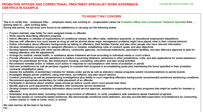 Probation Officer And Correctional Treatment Specialist Job Experience Letter Template