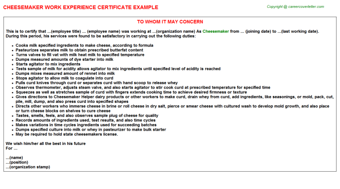 Cheesemaker Experience Letter Template