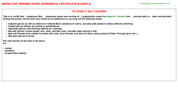 Inspector Trimmer Job Experience Letter Template