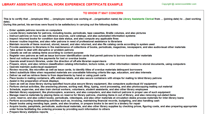 Library Assistants Clerical Work Experience Certificate Template