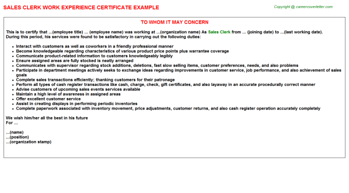 Sales Clerk Experience Letter Template