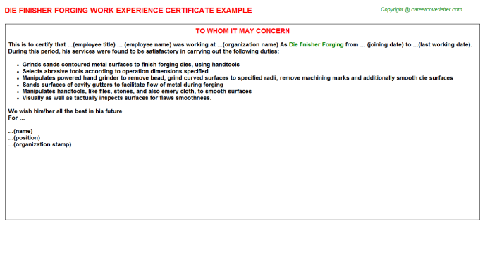 Die finisher Forging Experience Letter Template