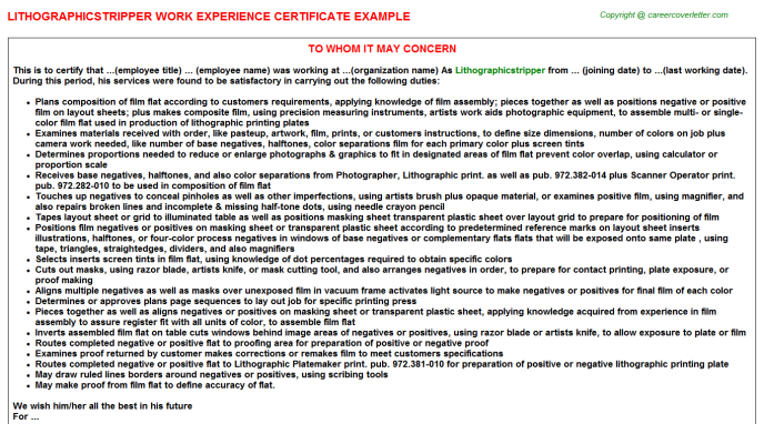 Lithographicstripper Experience Letter Template