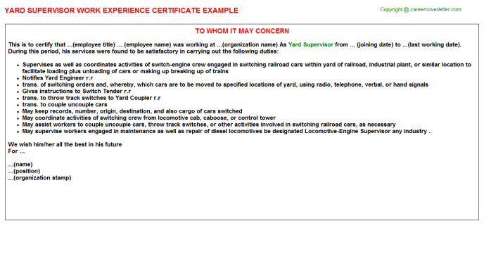 Yard Supervisor Work Experience Letter Template