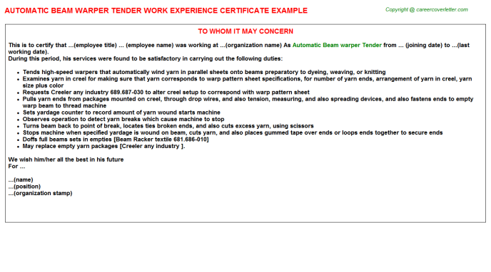Automatic Beam warper Tender Experience Letter Template