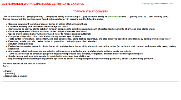 Buttermaker Experience Letter Template