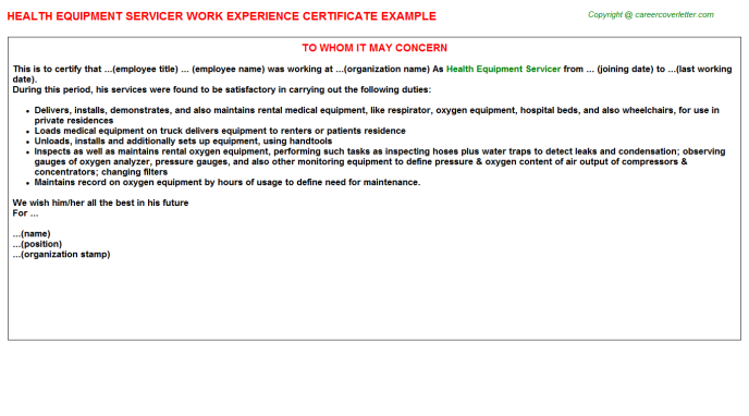 health equipment servicer experience letter template