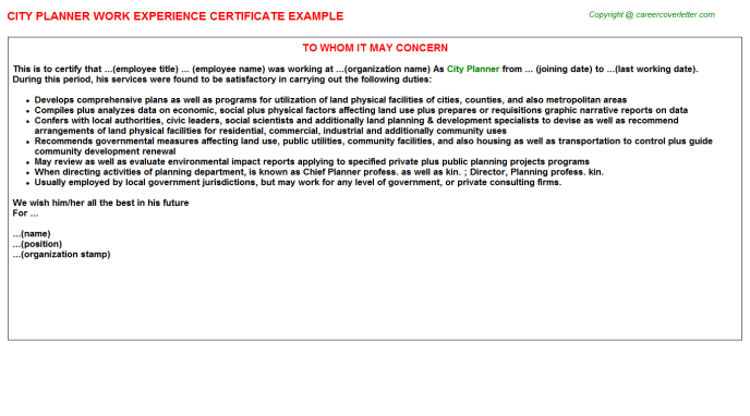 city planner experience letter template