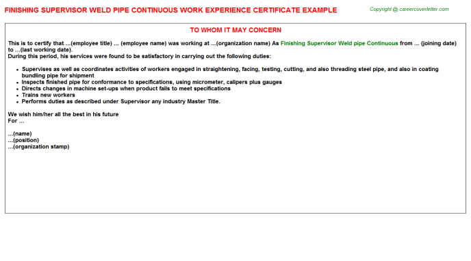Finishing Supervisor Weld Pipe Continuous Work Experience Letter