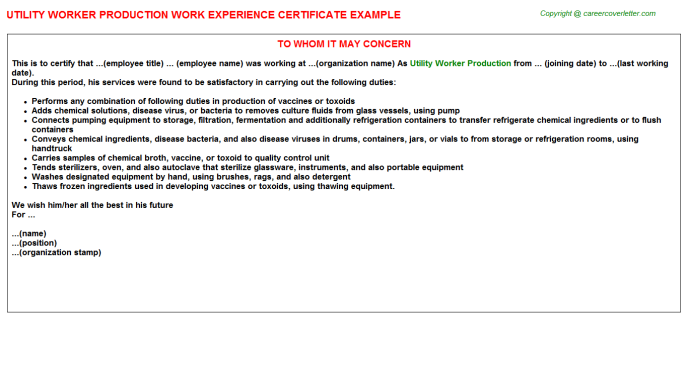 utility worker production experience letter template