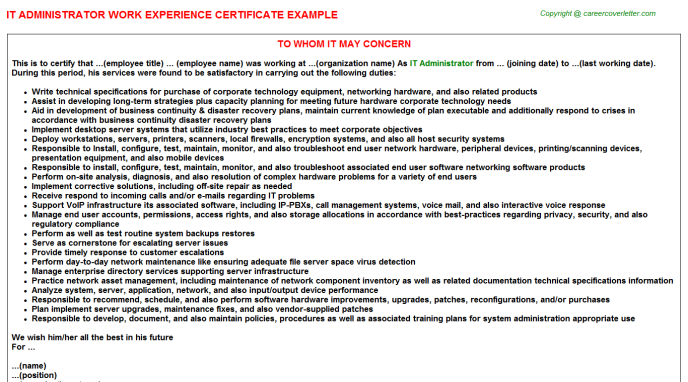 IT Administrator Experience Letter Template