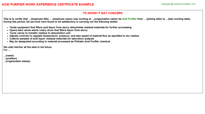 Acid Purifier Experience Letter Template