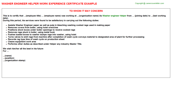 Washer engineer Helper Experience Letter Template