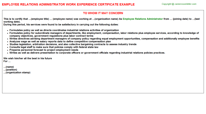 employee relations administrator experience letter template