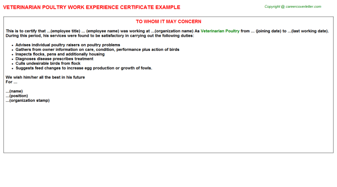 Veterinarian Poultry Experience Letter Template