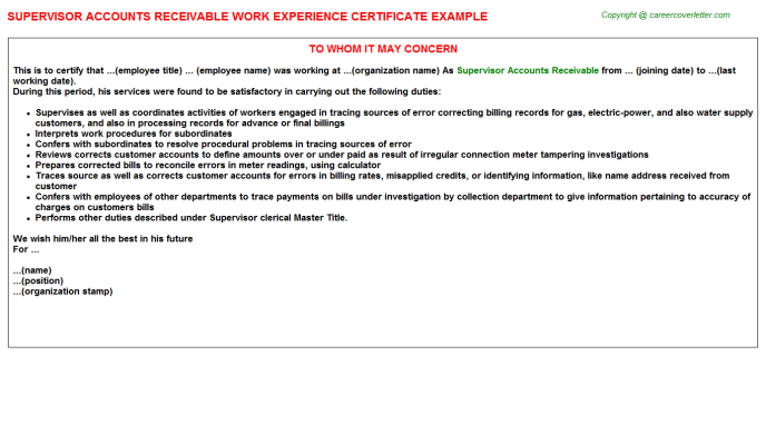 Supervisor Accounts Receivable Work Experience Certificate Template