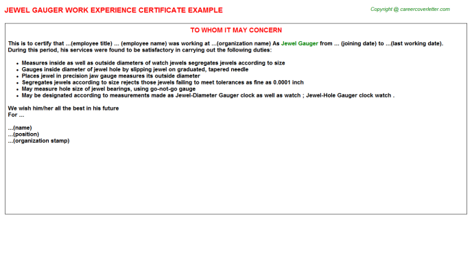 Jewel Gauger Experience Letter Template
