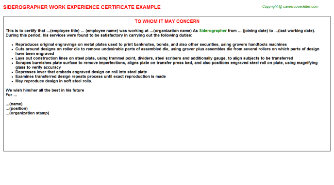 Siderographer Experience Letter Template