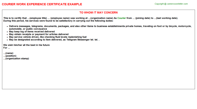 Courier Work Experience Certificate Template