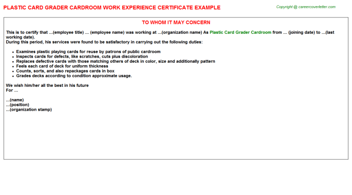 plastic card grader cardroom experience letter template