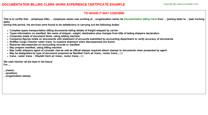 Documentation Billing Clerk Work Experience Letter Experience Letters