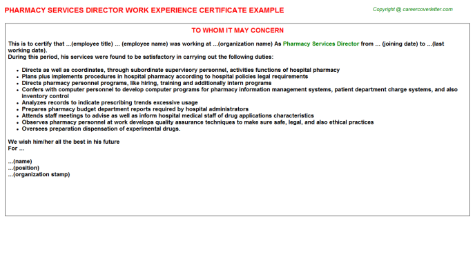 Pharmacy Services Director Experience Letter Template
