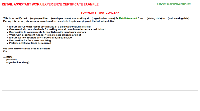 Retail Assistant Experience Letter Template