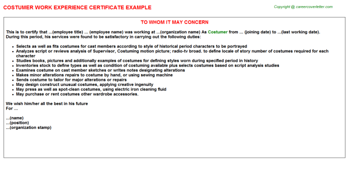 Costumer Experience Letter Template